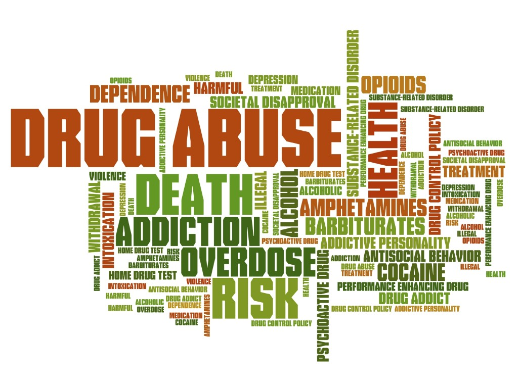 Drug abuse problem issues and concepts word cloud illustration. Word collage concept.